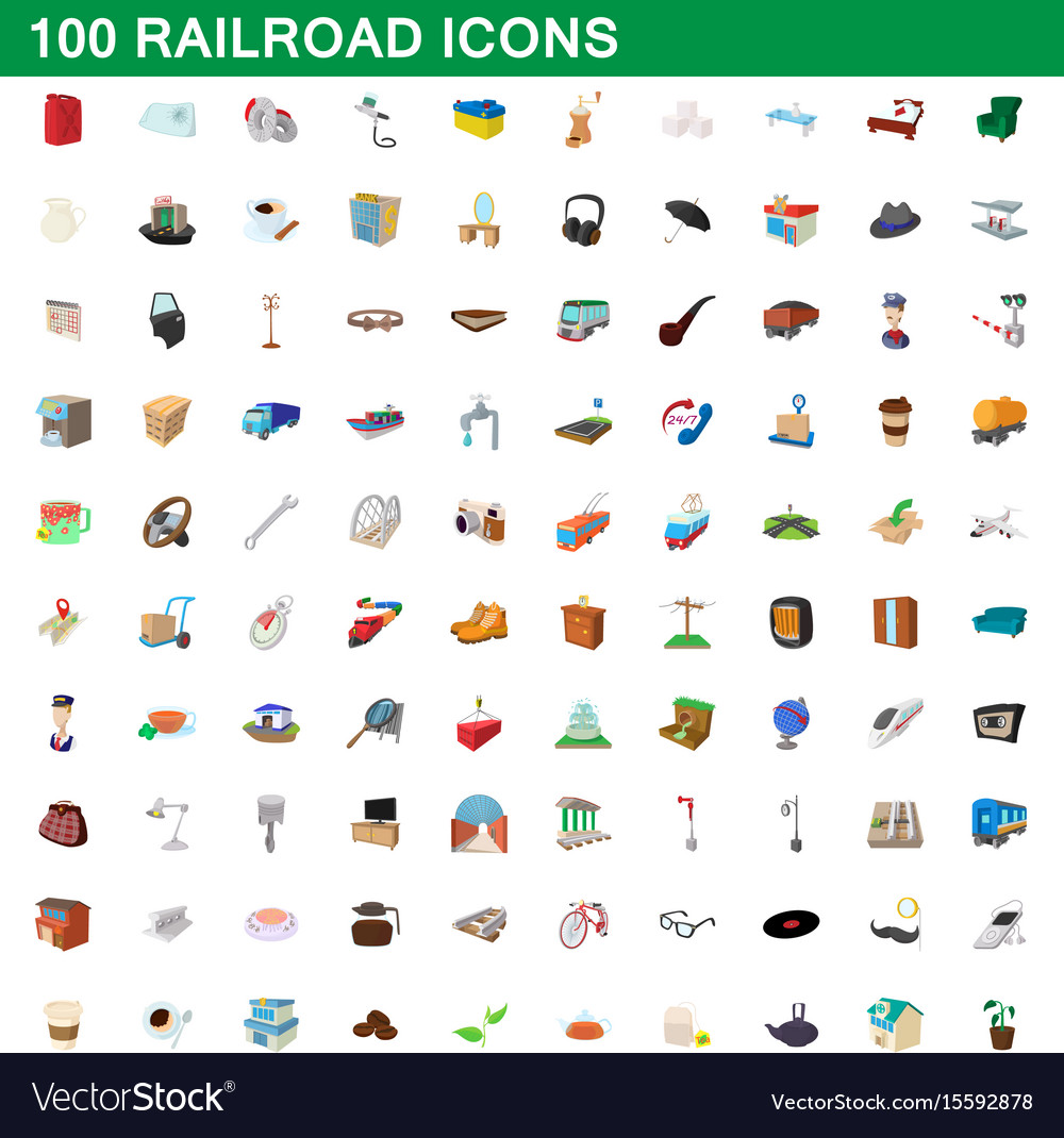 100 railroad icons set cartoon style