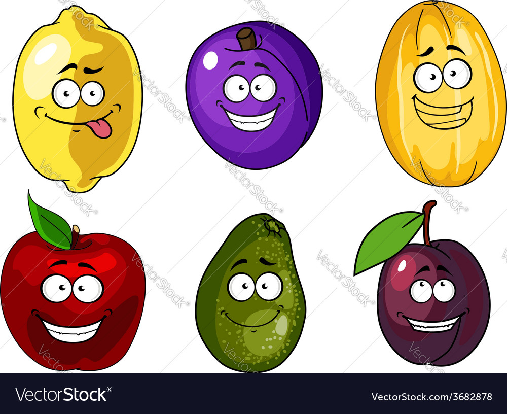 Cartoon apple plums melon lemon and avocado fruits