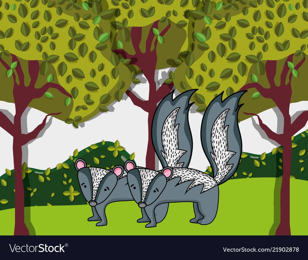 Cute Skunks Animals Royalty Free Vector Image Vectorstock