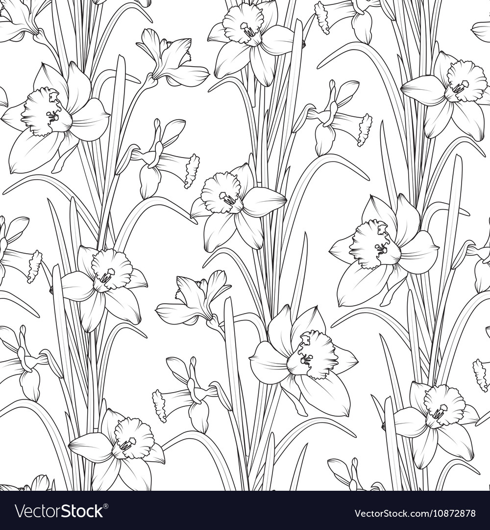 Daffodils narcissus flowers seamless pattern