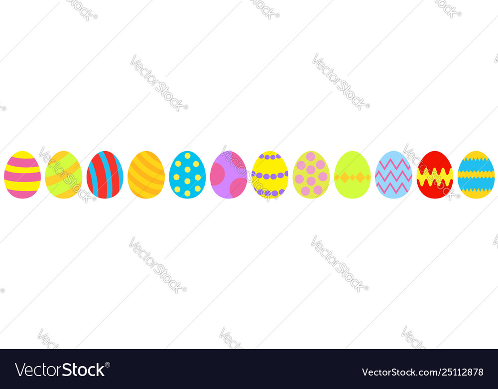 Easter egg set line colorful eggs shell