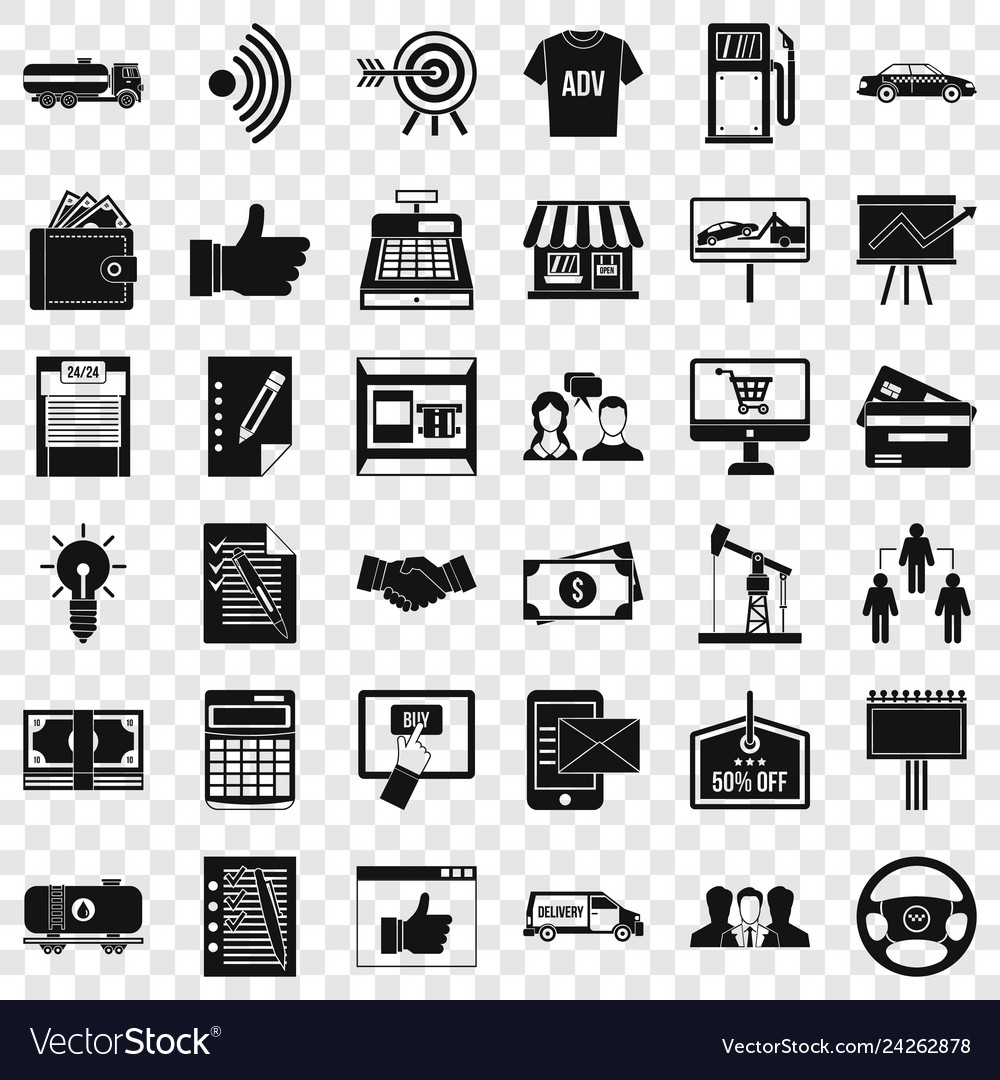 Finance business icons set simple style