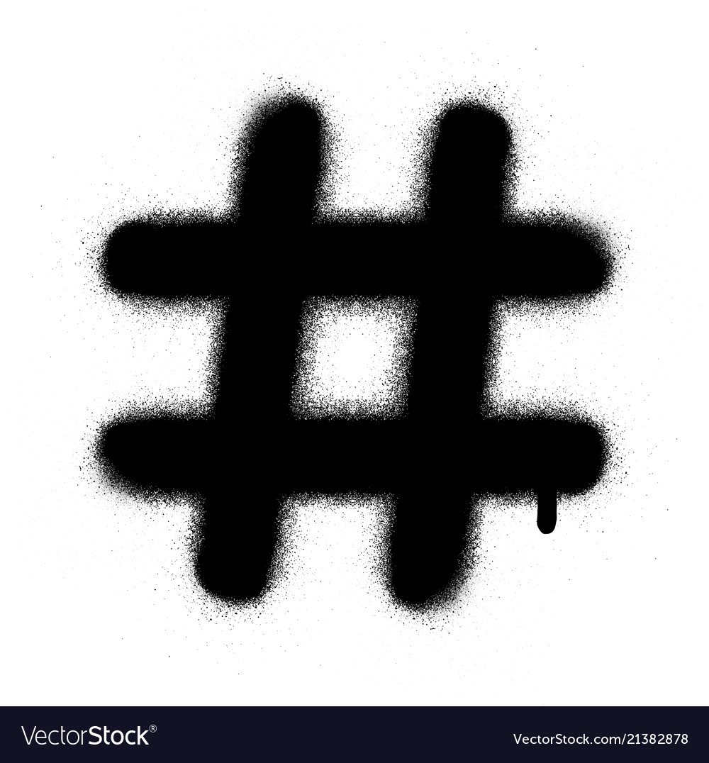 Graffiti hashtag leaking in black over white