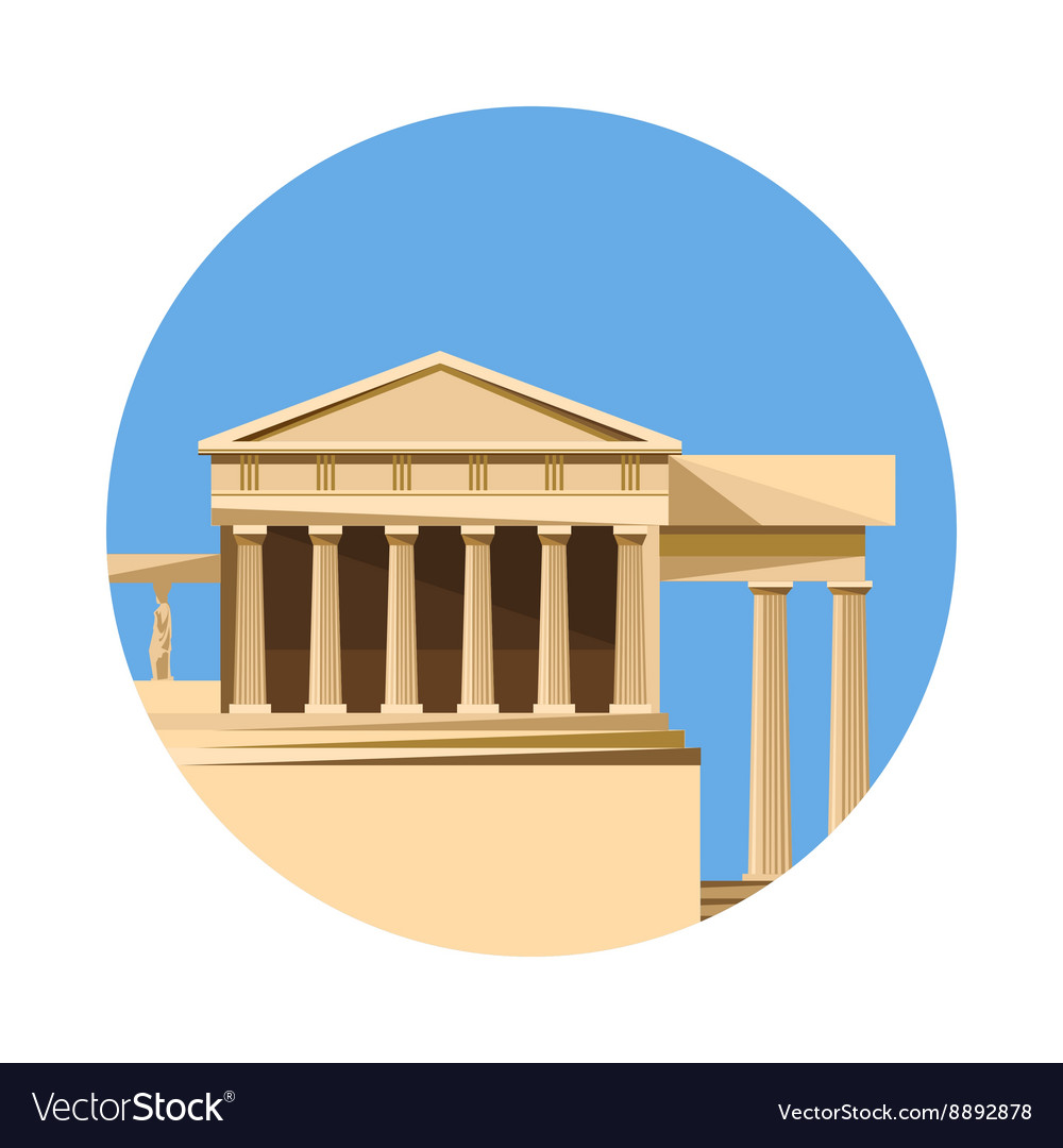 Greek parthenon icon isolated on white background
