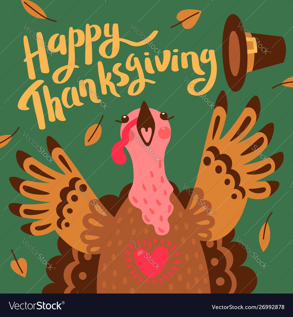 Happy thanksgiving card with turkey cartoon