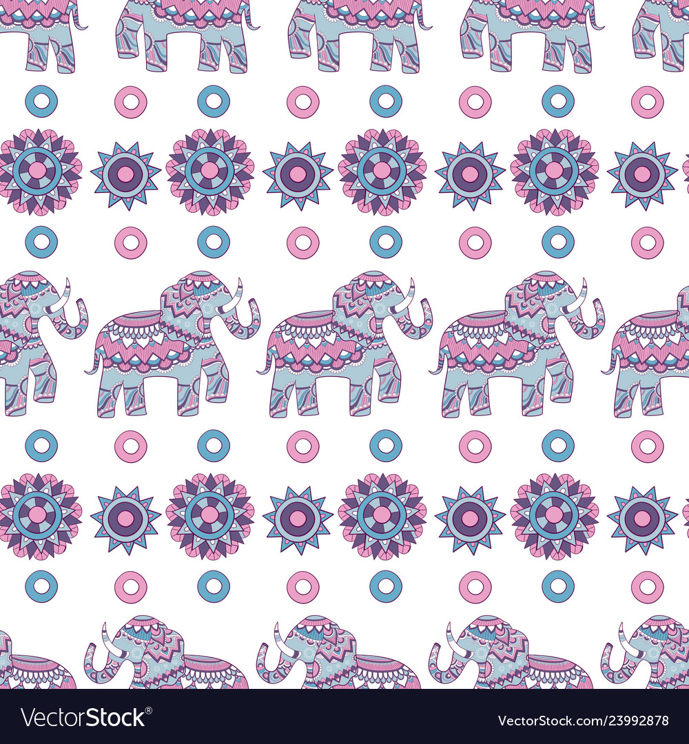 Indian elephant seamless pattern animal decorated