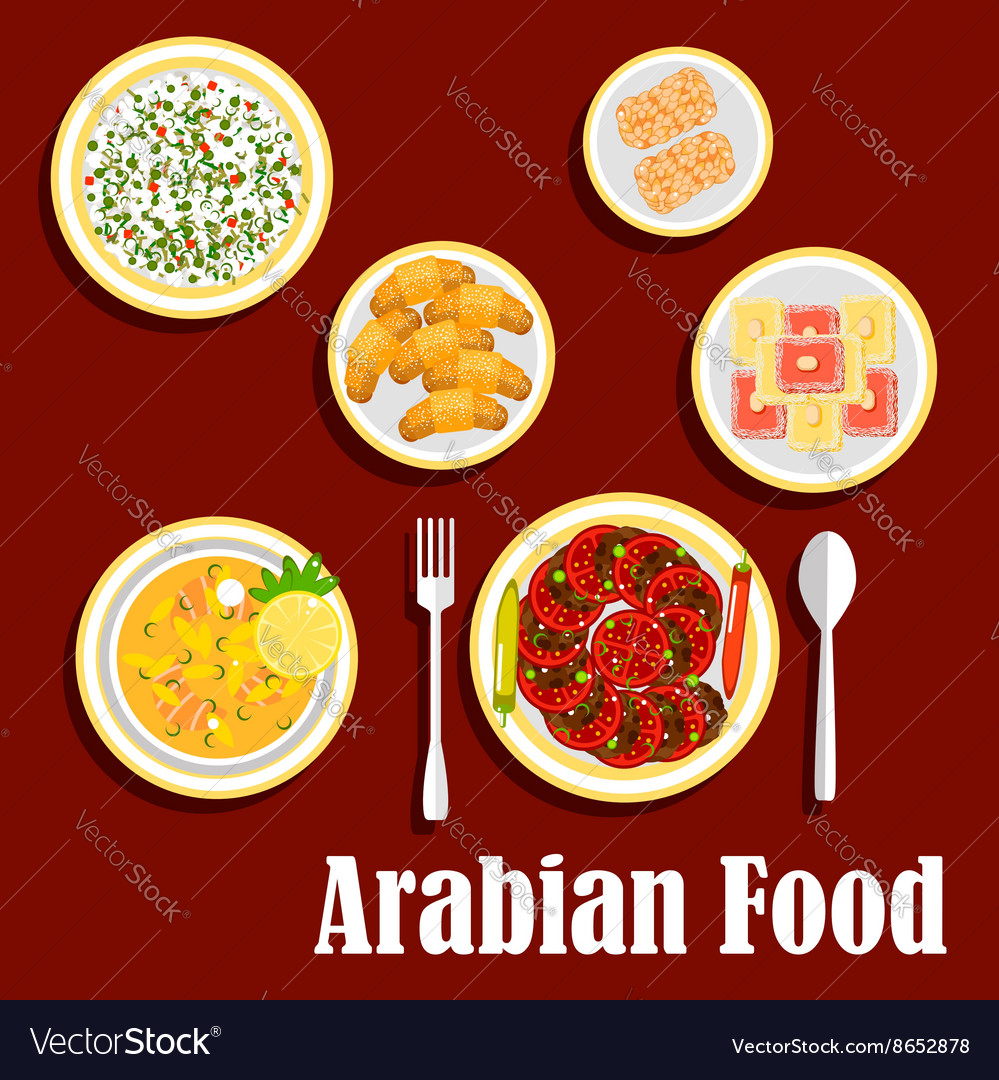 Middle eastern lunch with desserts flat icon