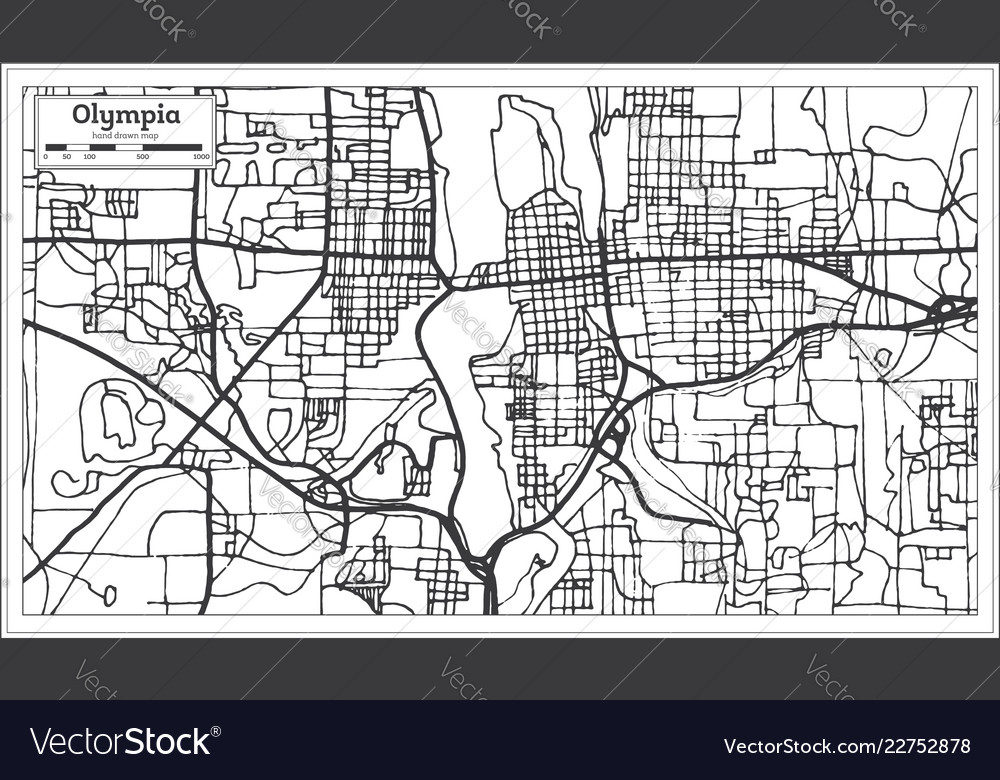 Olympia washington usa city map in retro style Vector Image