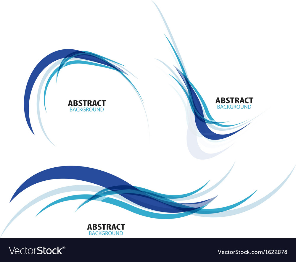 Set of flowing blue wave lines vector image