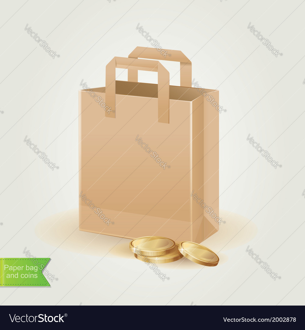 Shopping bag with coins isolated