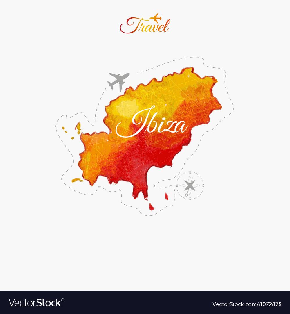 Travel around the world Ibiza Watercolor map