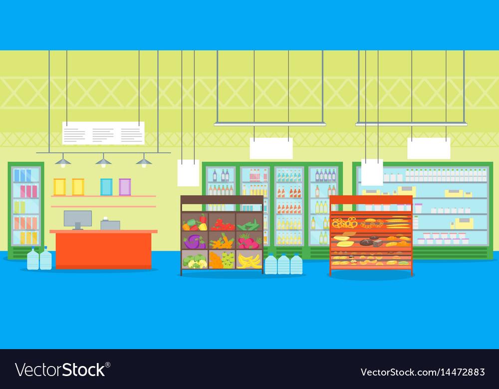 Cartoon interior super market or shop with
