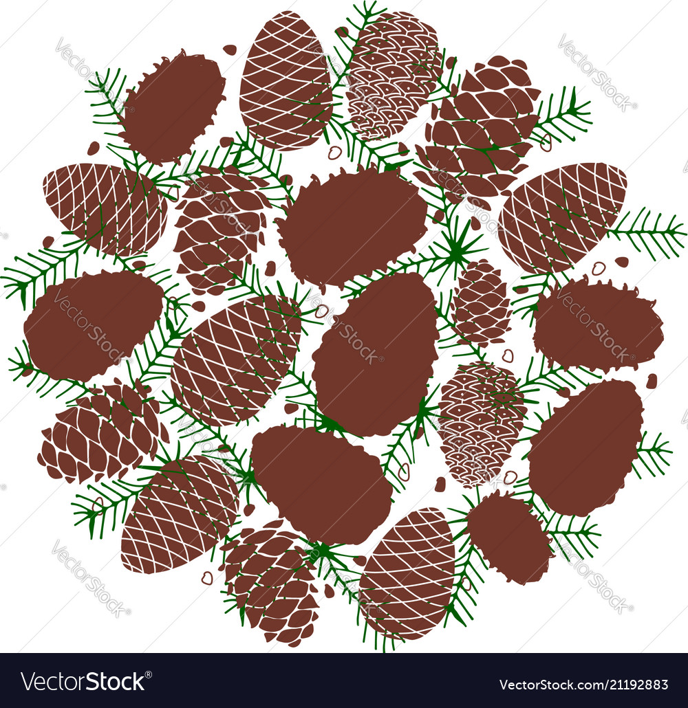 Cedar cone background sketch for your design