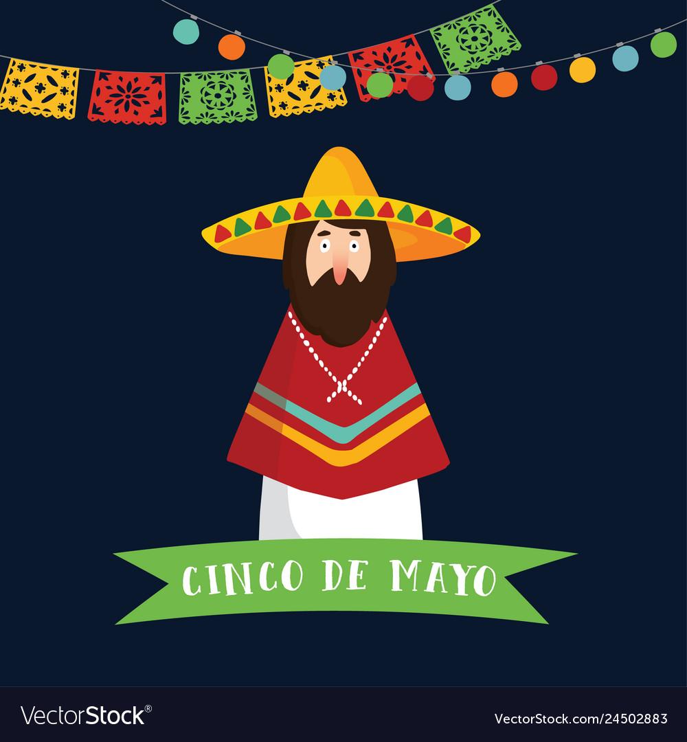 Cinco de mayo greeting card invitation mexican