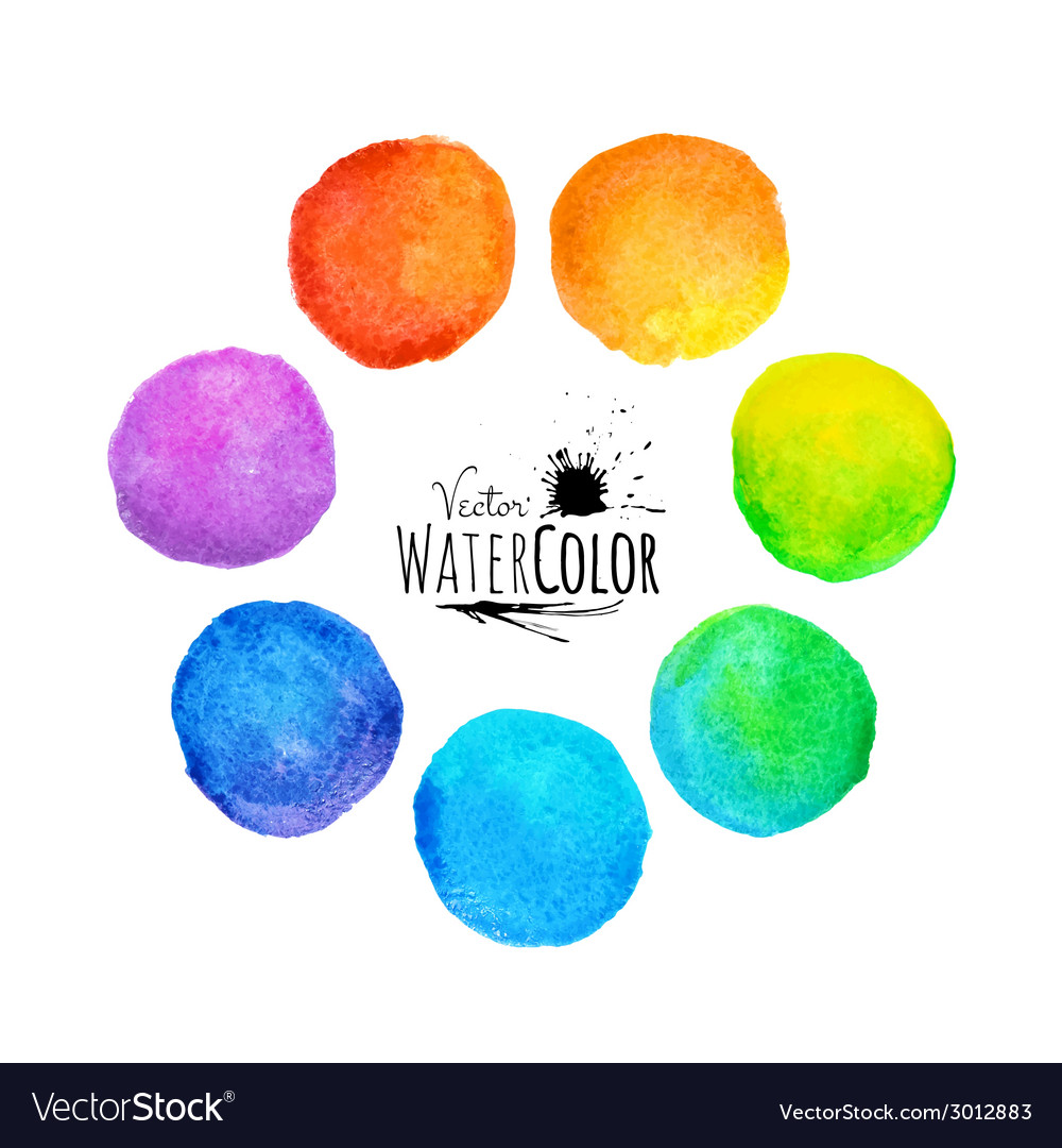 Colorful set isolated watercolor paint circles