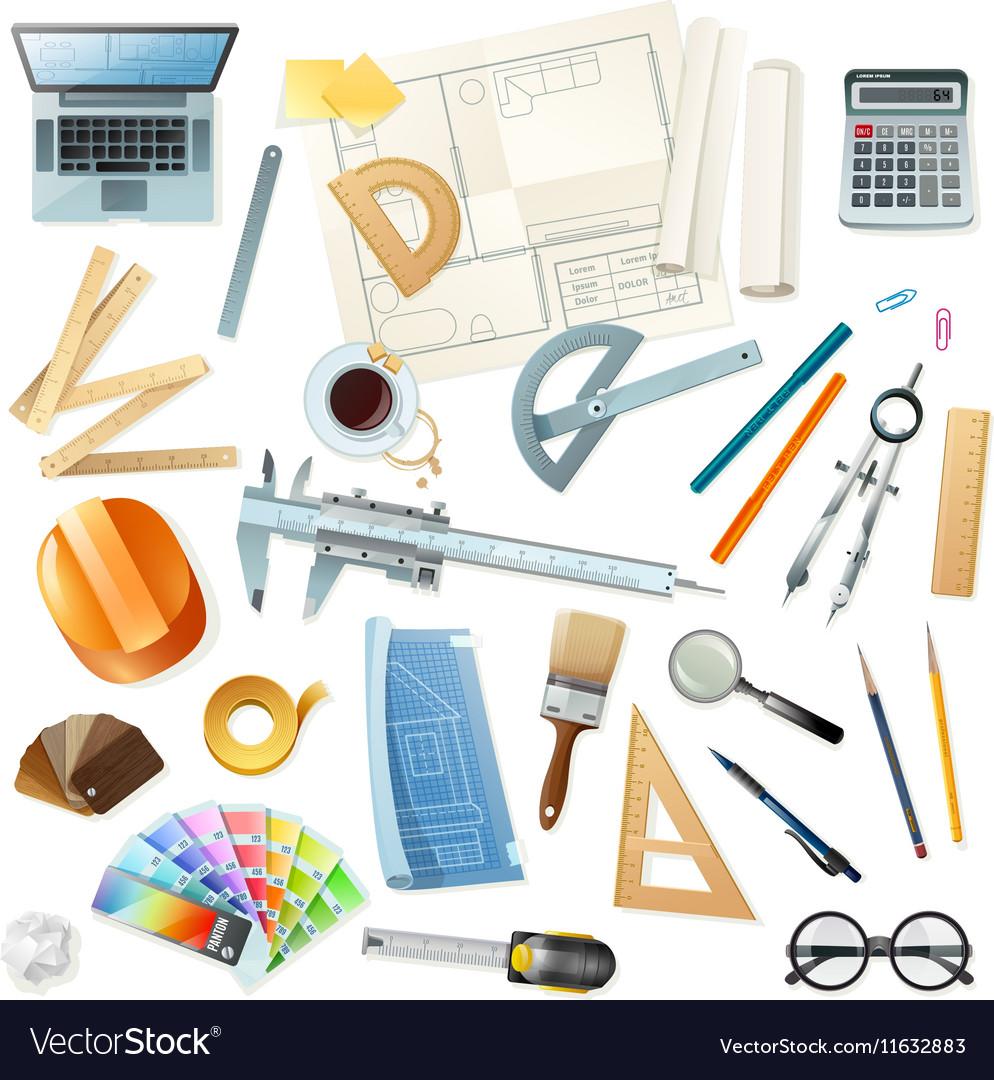 Construction Architect Tools Set Vector Image
