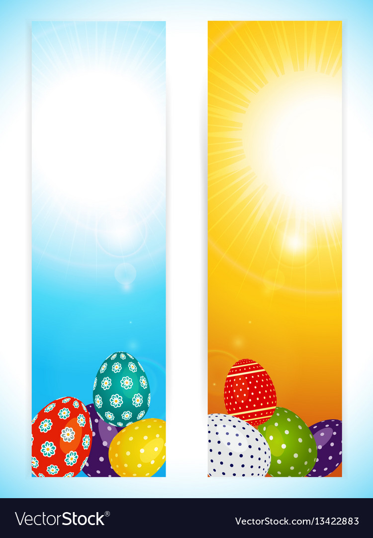 Easter vertical banners with decorated eggs