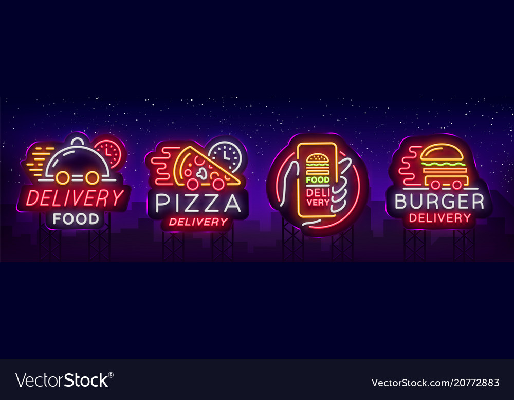 Food delivery set neon signs logotype collection
