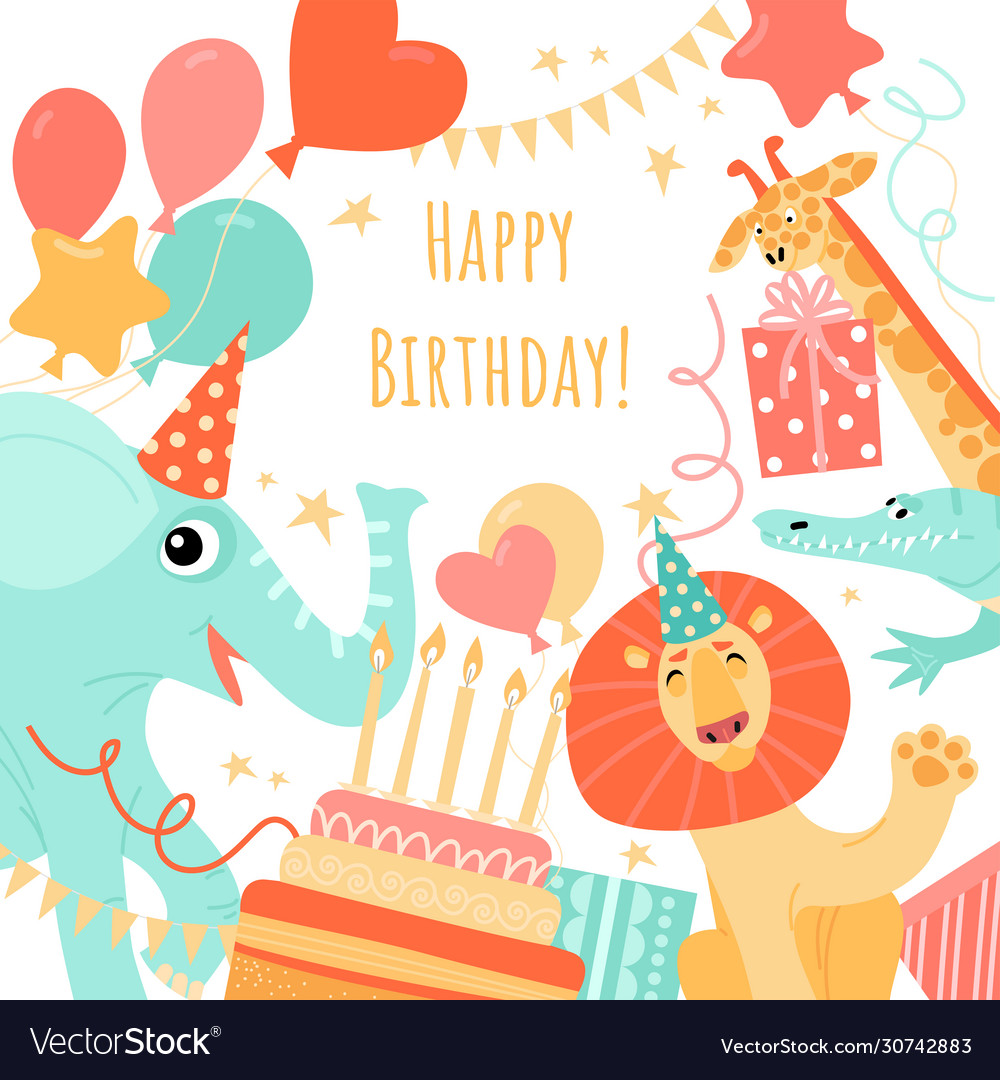 Greeting card template with funny animals