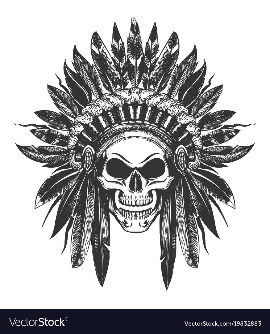 6fc20dfdf872a Native american indian skull in war headdress Vector Image