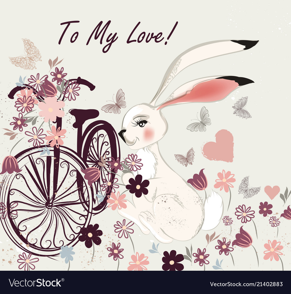 Postcard with cute rabbit bicycle and field