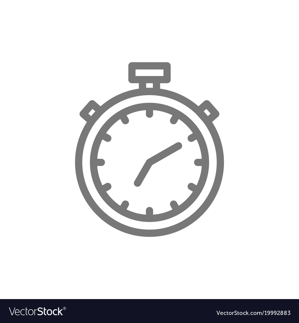 Simple stopwatch and timer line icon symbol and