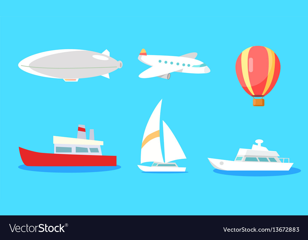 Transportation collection on blue background vector image