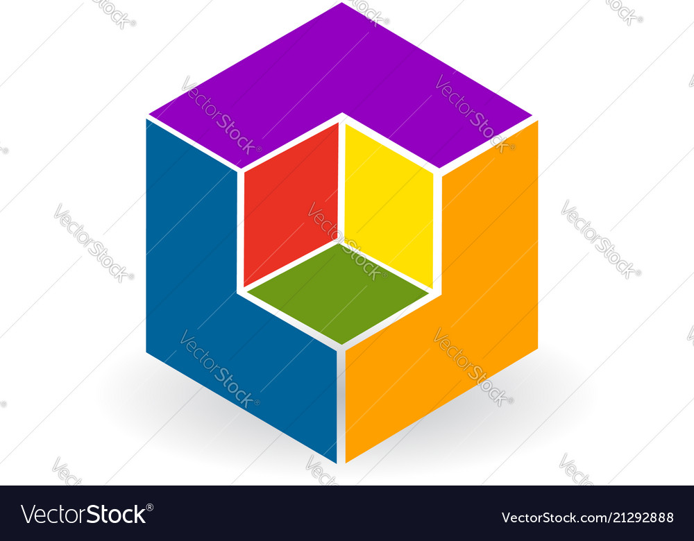 Abstract colorful cube icon