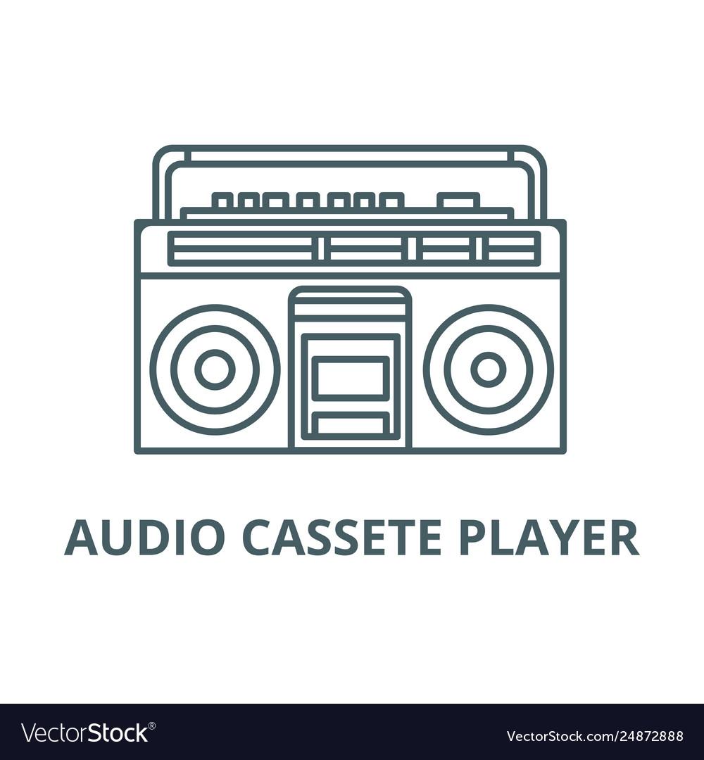 Audio cassete player line icon audio