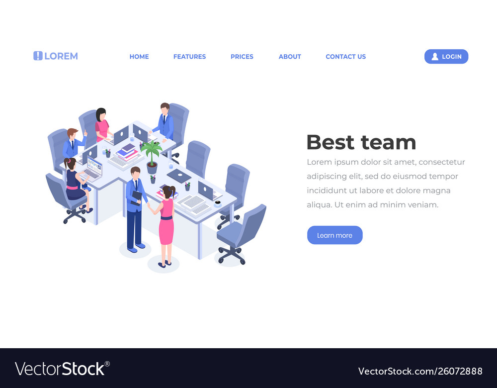 Best team isometric landing page template