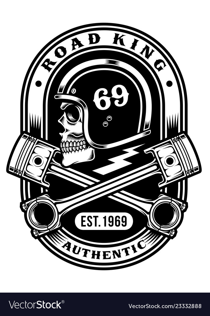 Biker skull with crossed pistons t-shirt graphic