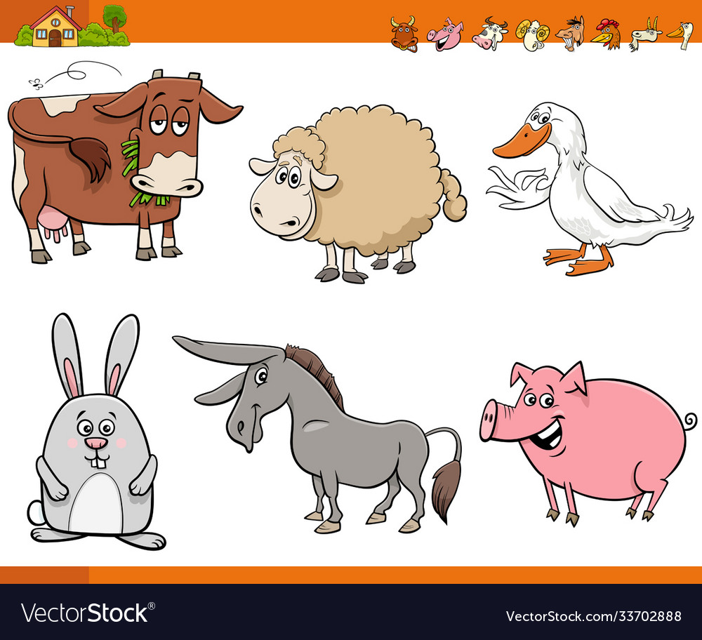 Cartoon farm animal comic characters set