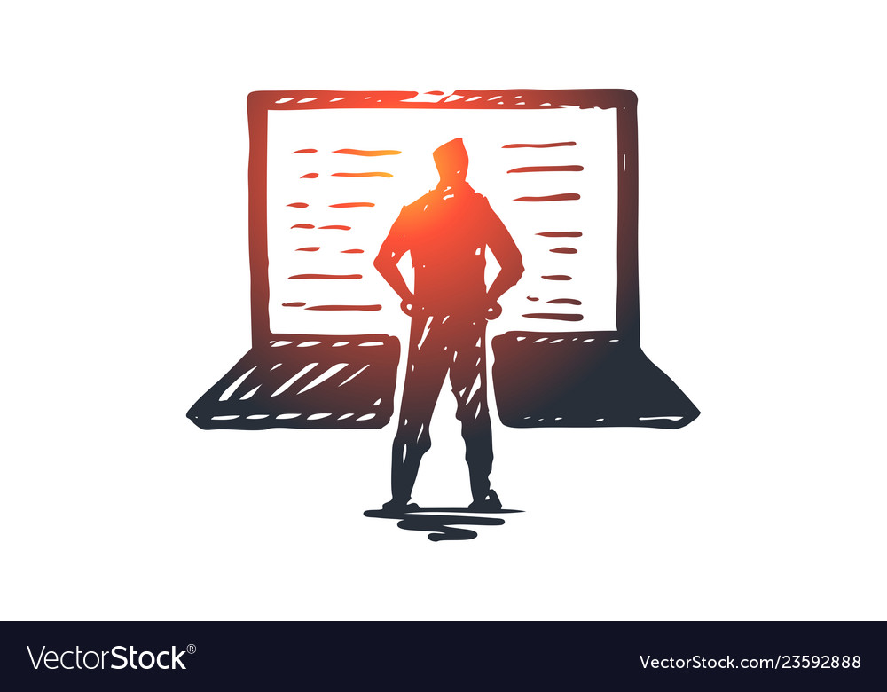 Computer laptop person work technology concept