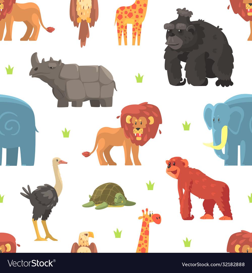 Cute wild jungle animals seamless pattern design