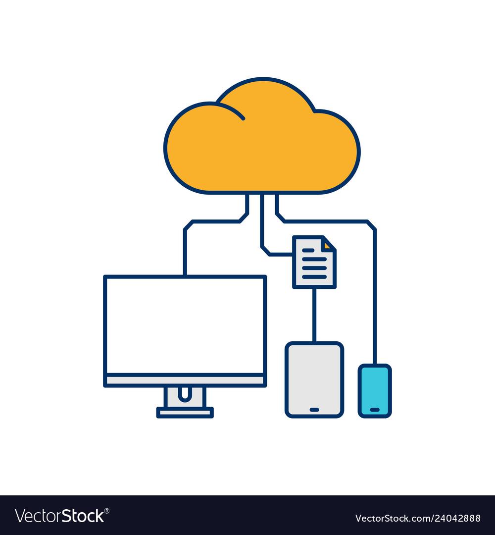 Device cloud storage icon line outline monoline