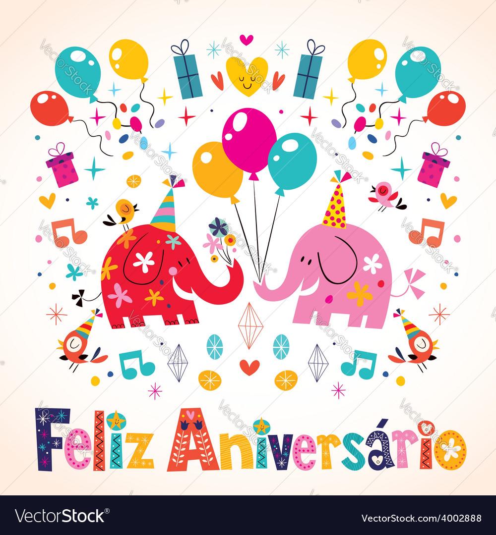 Feliz Aniversario Portuguese Happy Birthday cute vector image