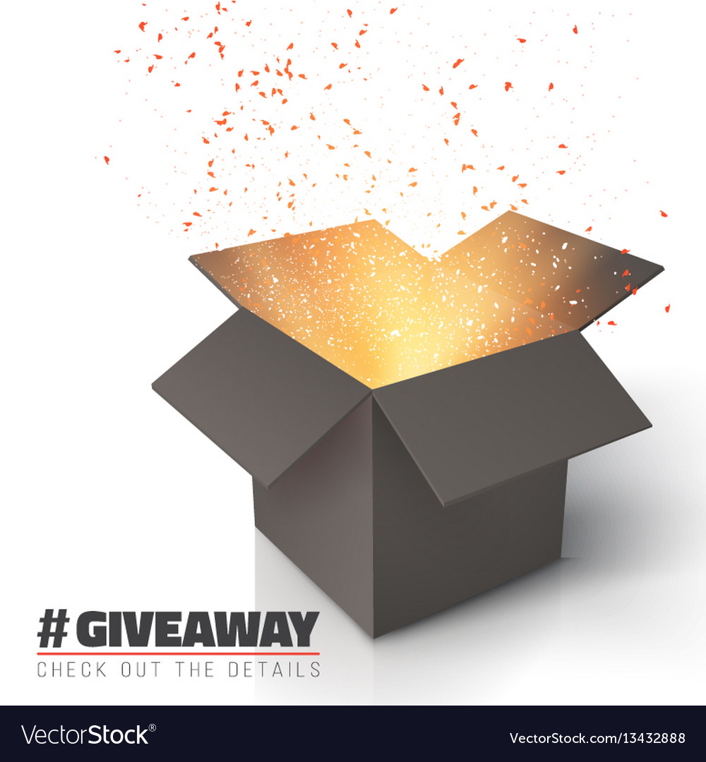 giveaway competition template open box royalty free vector