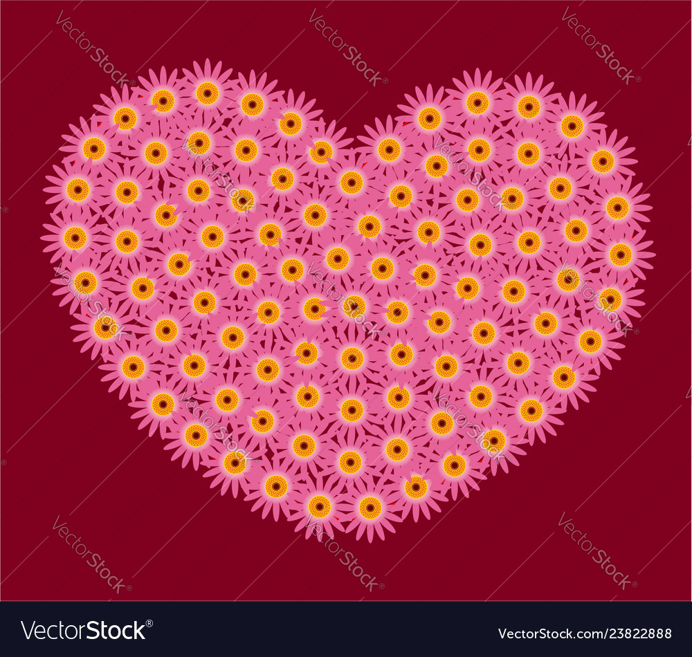 Pink flowers heart decoration symbol