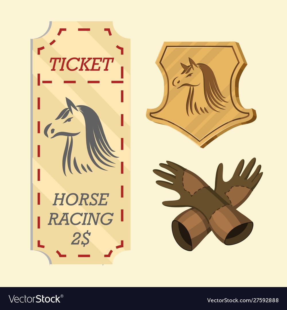 Set horseback riding racing icons for activity