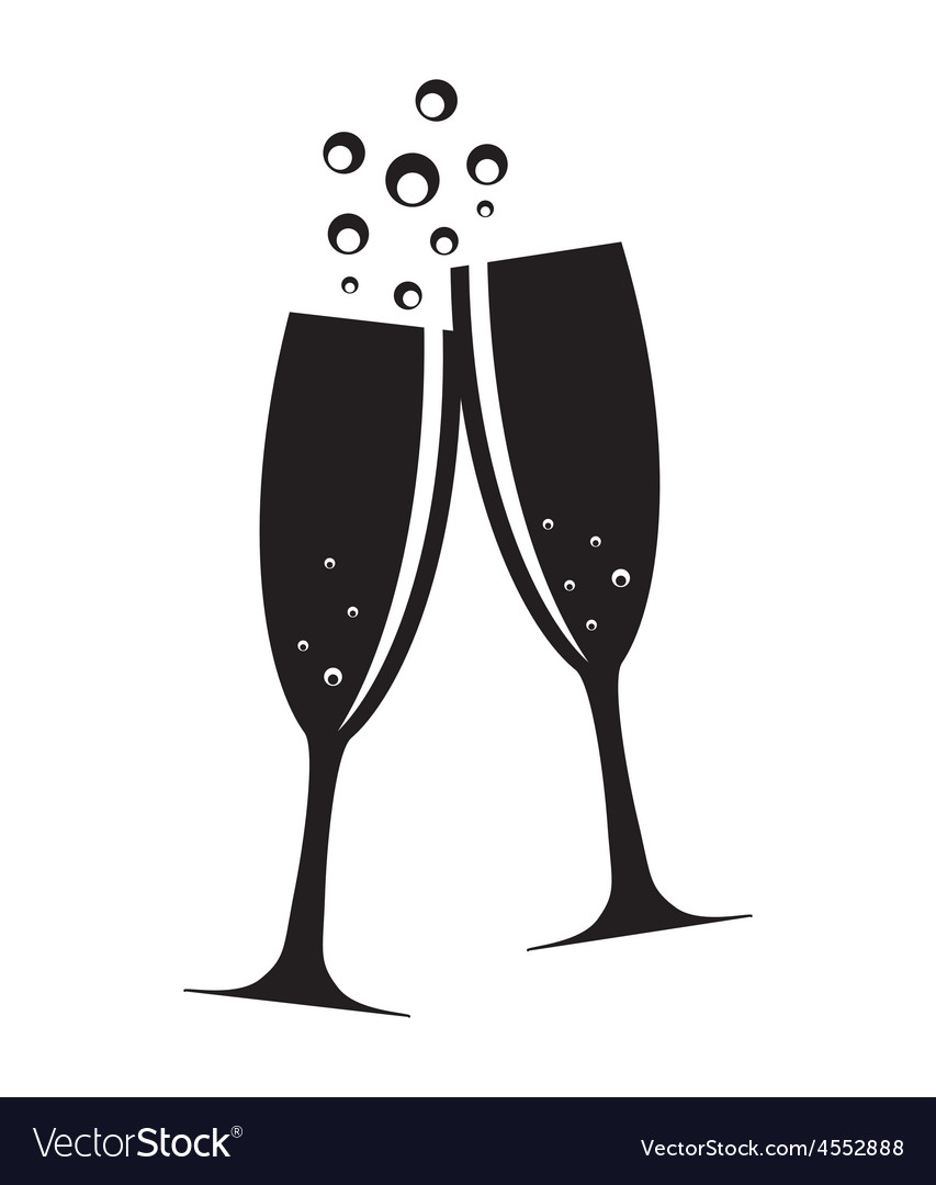 601c7bb9be6 Two Glasses of Champagne Silhouette Royalty Free Vector