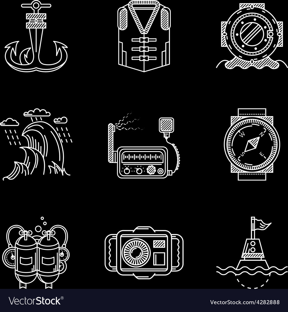 White line icons for marine equipment vector image