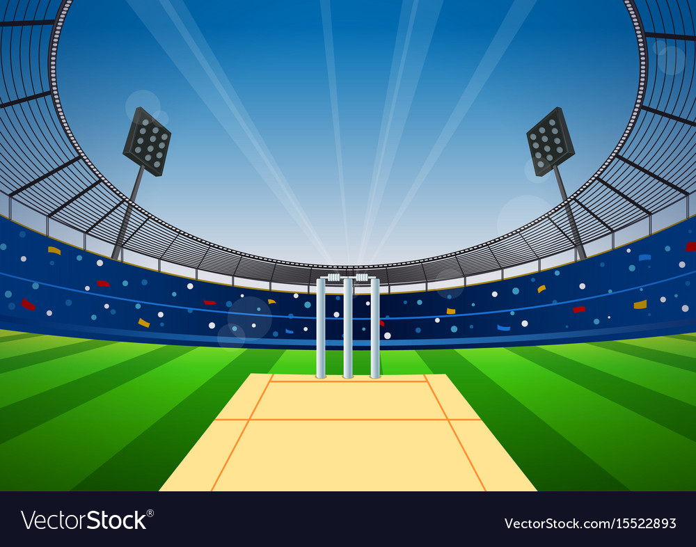Cricket Stadium Background Royalty Free Vector Image
