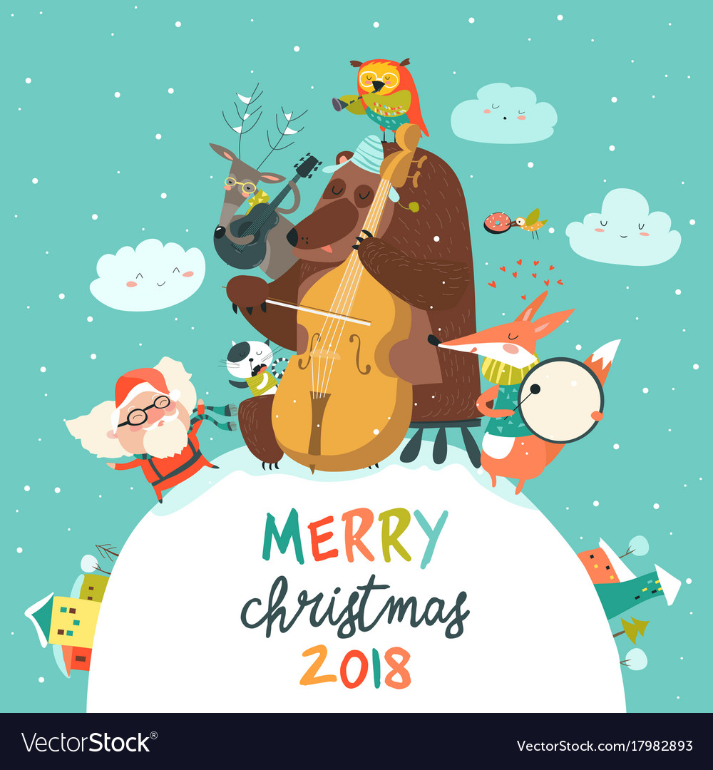Cute merry christmas card with animals santa and