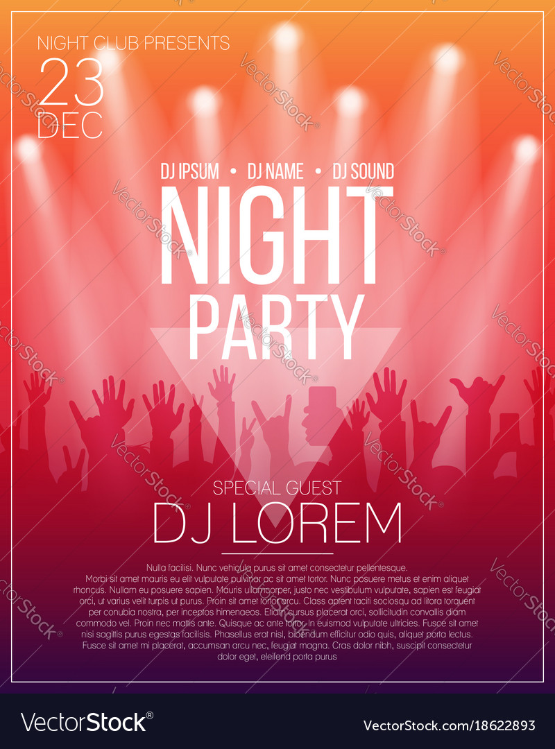 Dance party flyer or poster design template night