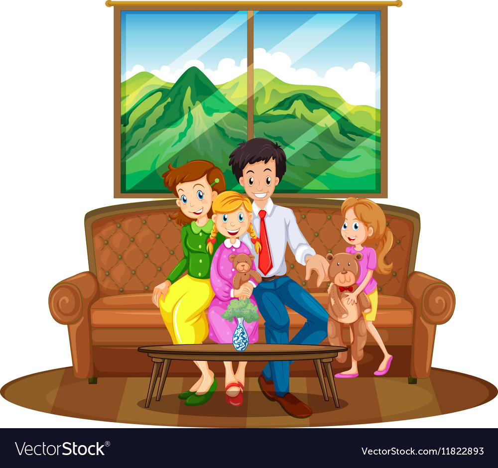 Family members sitting in living room