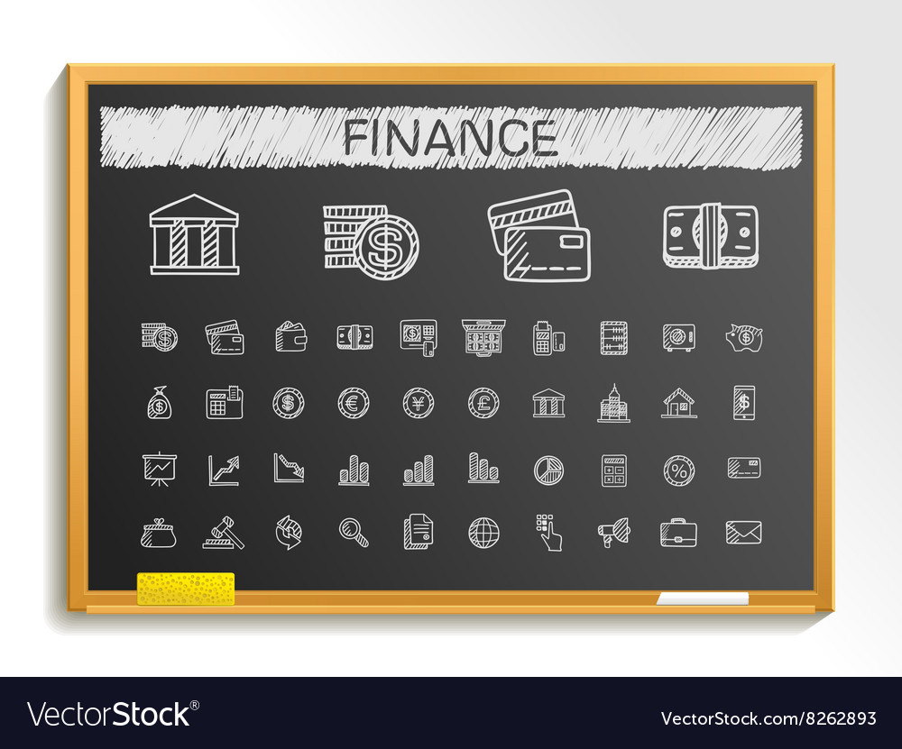 Finance hand drawing line icons chalk sketch sign vector image