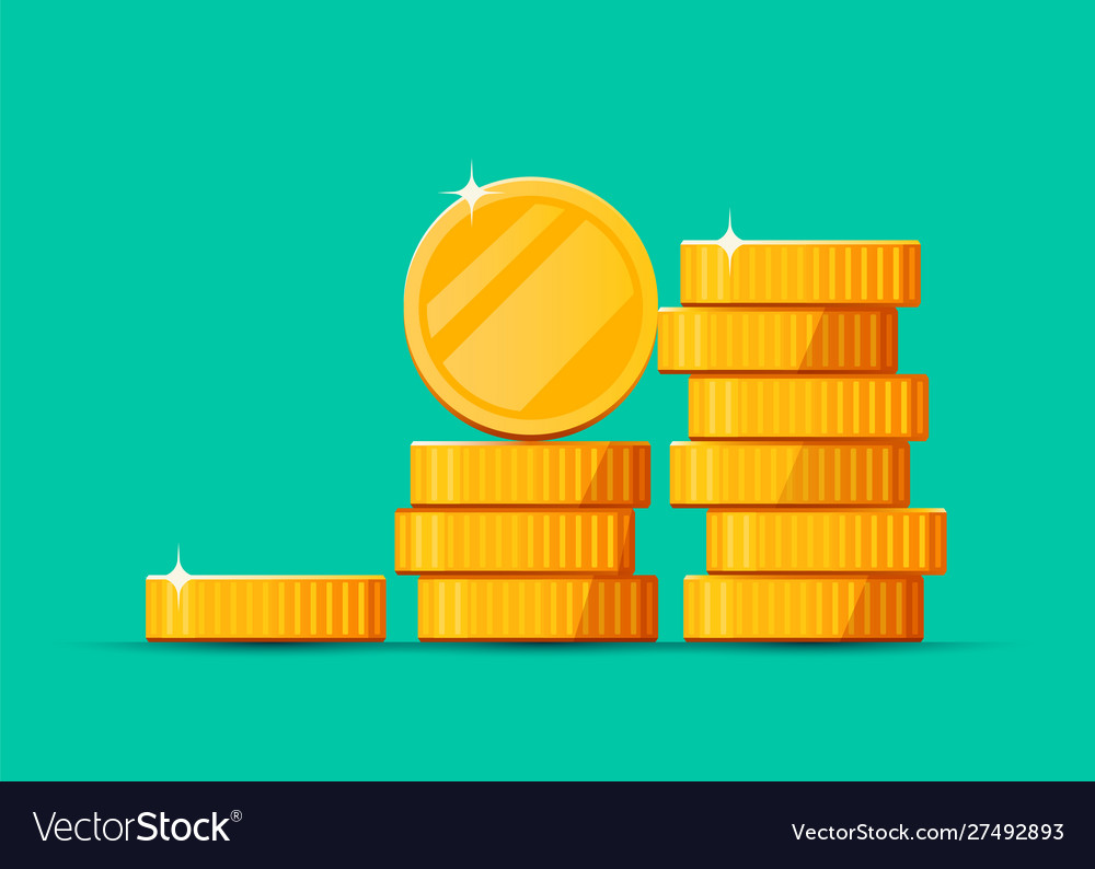 Growing stack golden dollar coins isolated on