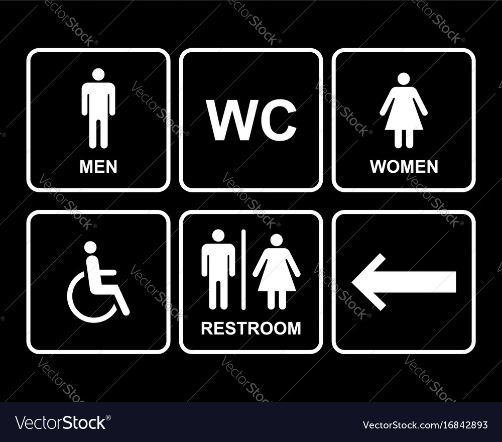 Male and female restroom symbol icons set with