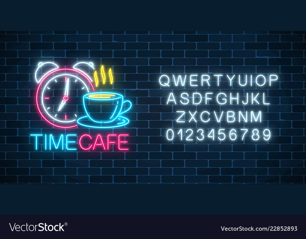 Neon sign of time-cafe with clock and coffee cup