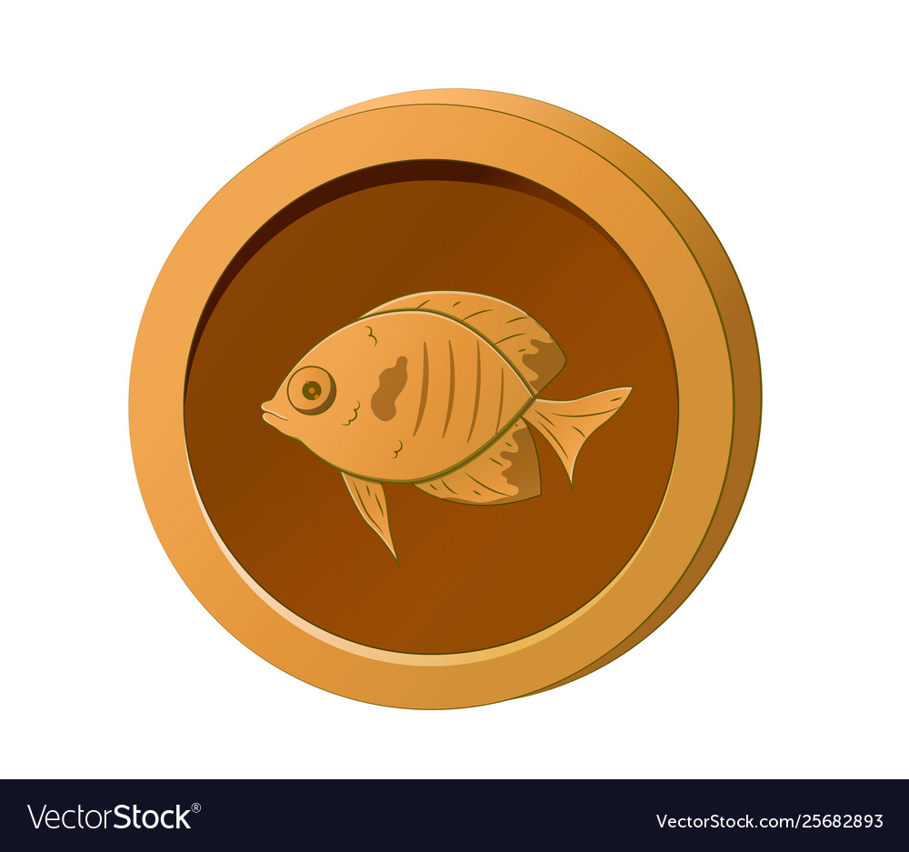 Orange coin with image a fish